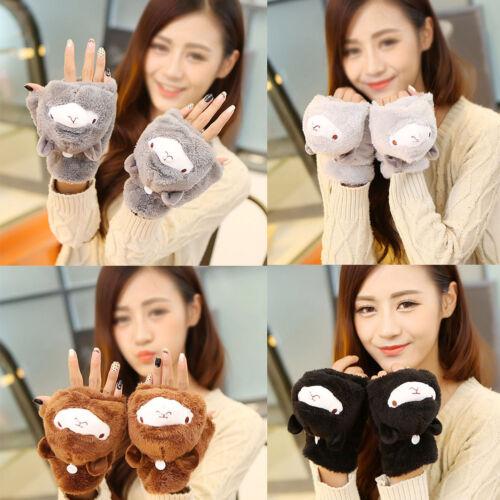 Women Soft Alpaca Fleece Fingerless Wrist Gloves Cute Cartoon Fashion Mittens
