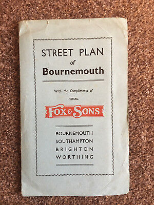Europe Maps Street Plan Of Bournemouth Dating Estimated 1920/30's Provided By Fox & Sons Wide Varieties Maps, Atlases & Globes