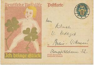 DT-REICH-1928-Sonderpostkarte-Deutsche-Nothilfe-ICH-BRINGE-GLUCK-K2-MUSKAU