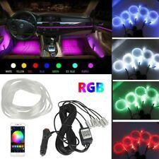 6m Rgb Led Car Interior Fiber Optic Neon El Wire Strip Atmosphere Light Kit App