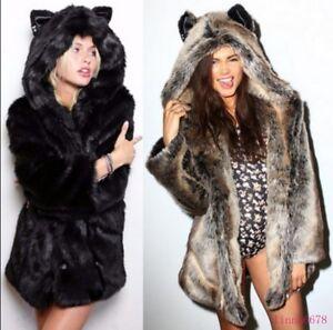 Fur Coat Warm Hooded Dame Faux Animal Ear Jacket Parka Hot Winter Tykk Furry wqI1Egga