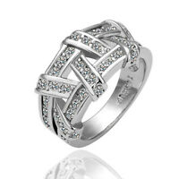 18k White Gold Filled Crystal Knot Pretty Cocktail Ring Size 6-8 C194