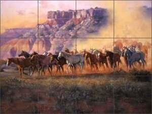 Southwest-Tile-Backsplash-Sorenson-Horse-Art-Ceramic-Mural-RW-JS036