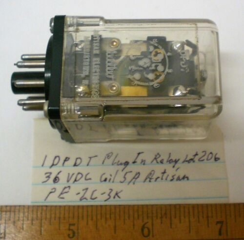 1 New Plugin Relay DPDT, 36VDC Coil, 5A Cont. ARTISAN #PE2C3K, Lot 206, USA