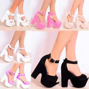 ANKLE-CUFF-PLATFORMS-CHUNKY-BLOCK-HEEL-WEDGES-WEDGED-HIGH-HEELS-SIZE-3-4-5-6-7-8