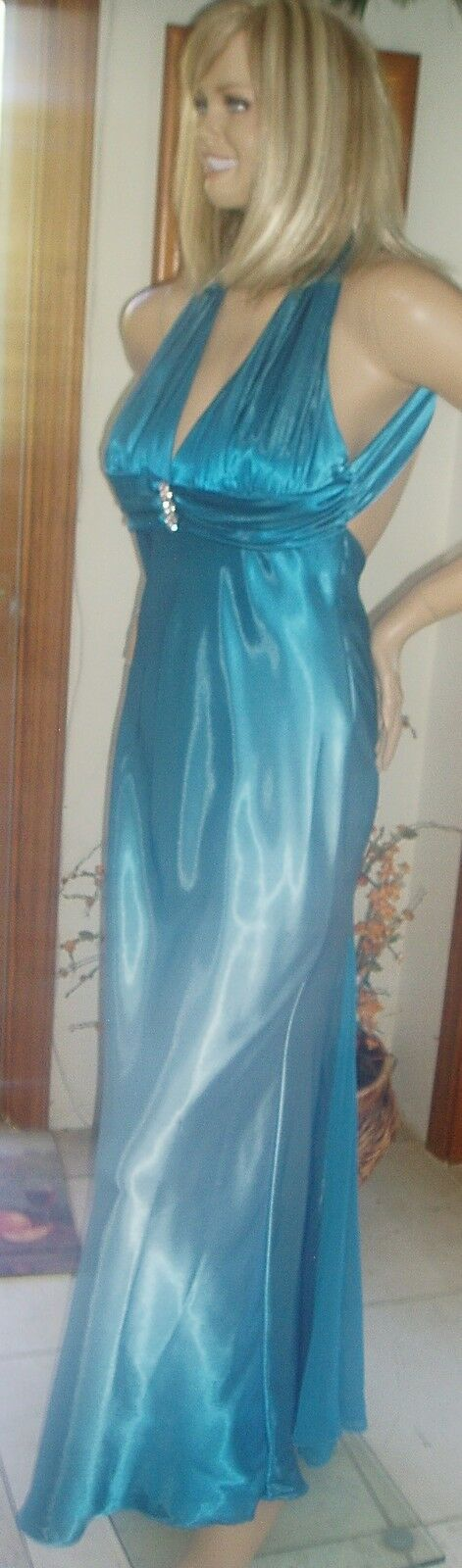 MSRP  CACHE S 8 TEAL blueE W CENTER RHINESTONE ORNAMENTATION HALTER GOWN
