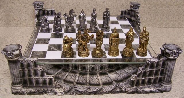 Chess Set with Glass Board Themed Polyresin Platform Pewter Roman Gladiators NEW