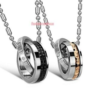 His Queen Hers King Eternal Love Ring Pendant Stainless Steel Couple Necklace