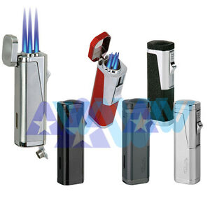 Vector-KGM-Urbano-Triple-Flame-Torch-Lighter-Butane-w-Cigar-Punch-All-Colors