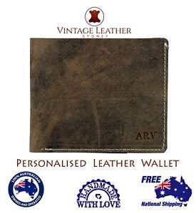 Men-039-s-Personalised-Leather-Wallet-Custom-Monogram-Slim-Bi-fold-Free-Shipping-AU