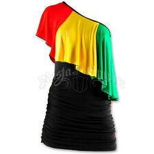 Jamaican Rasta Colour, One Shoulder Mini Dress, SIZE'S...  12