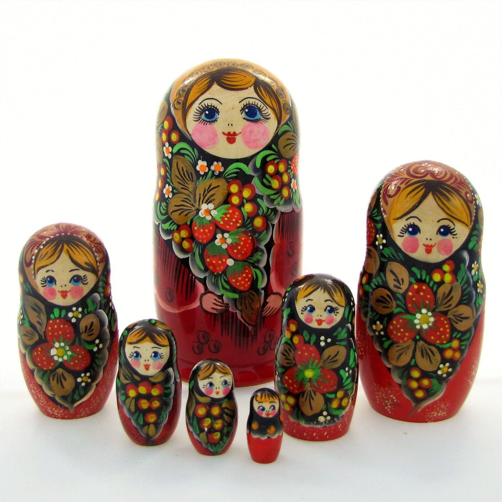 Poupées russes H22 peint main signé Matriochka Gigognes Nested Dolls Matrjoschka