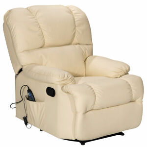 Recliner Massage Sofa Chair Deluxe Ergonomic Lounge Couch Heated W/Control Beige