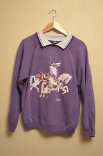 Vintage cabin creek unicorn purple sweater with collar Size Large