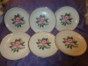 Image Is Loading 6 Vintage China Dinner Plates Paden City Pottery