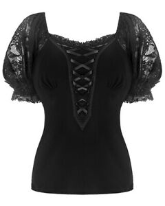 Dark-In-Love-Womens-Gothic-Top-Black-Lace-Sleeve-VTG-Victorian-Steampunk-Blouse