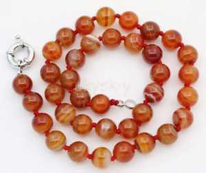 AAA 10MM Pink Stripe Agate Gems Bead Necklace 18/'/'