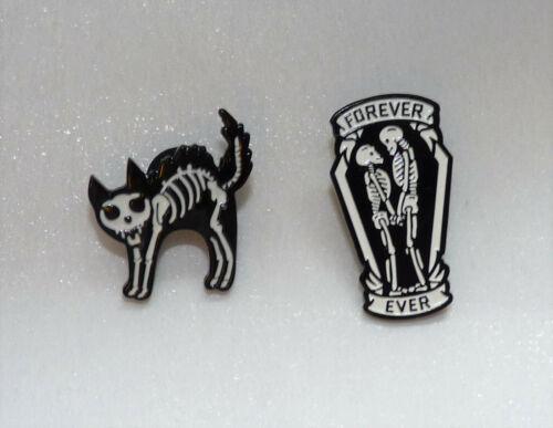 Negro Y Blanco Esmalte Esqueleto Estilo Pin Insignia//Broche #GOTH//puink//Regalo