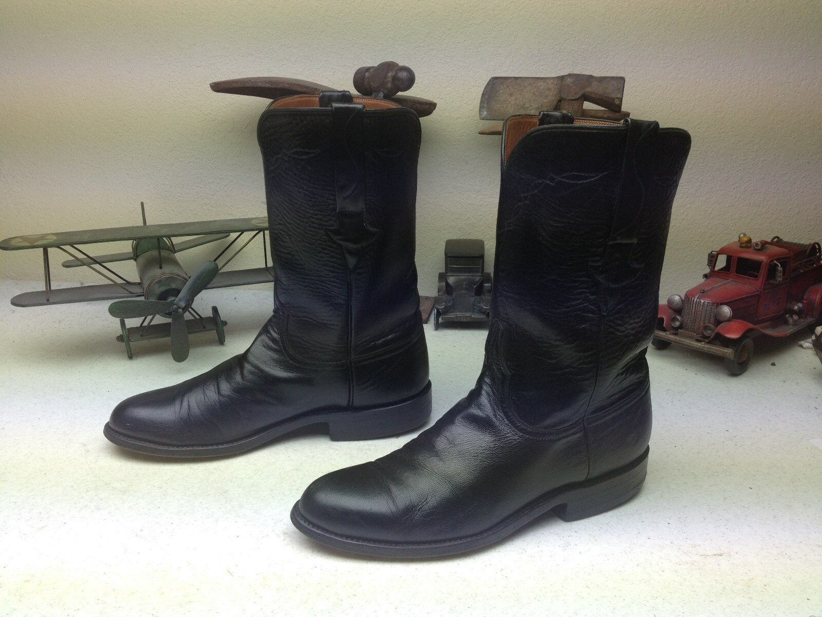 VINTAGE USA LUCCHESE BLACK LEATHER WESTERN ENGINEER TRAIL BOSS BOOTS SIZE 7.5 D