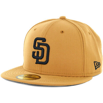"Black Men/'s MLB Cap New Era 59Fifty /""Twist Trick/"" San Diego Padres Fitted Hat"