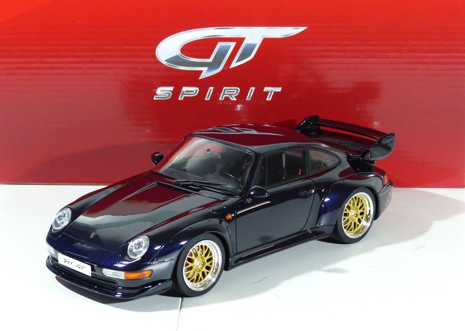 Porsche 911 GT (993) darkblu 1.500 PCs. gt144 gtspirit 1 18 nuevo