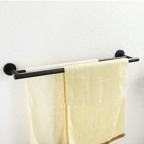 New Black Double Bath Towel Bar 24 Inch Stainless Steel Towel Rack for Bathroom