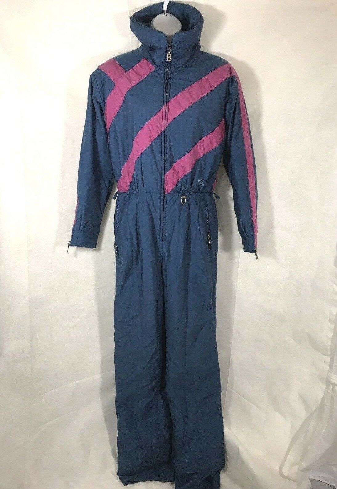Vintage Bogner Womens bluee Pink Ski One Piece Suit Snowsuit Snowboard Size 12