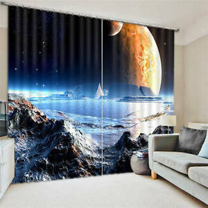 Mysterious moon space 3d blockout photo printing curtains for 3d space fabric