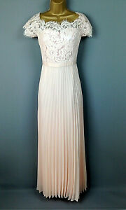 Coast-Maxi-Dress-UK-Size-10-Pink-Peach-Lace-Pleated-Prom-Womens-Special-Occasion