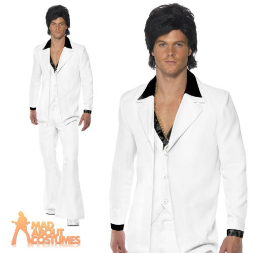 70s Disco Suit White Saturday Night Fever John Travolta Fancy Dress Outfit