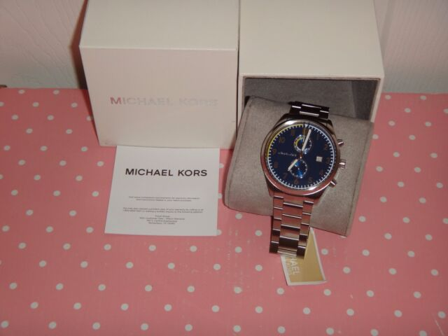 Michael kors authentic saunders chronograph mk8574 mens silver 44mm michael kors mens saunder chronograph silver watch blue dial 43mm mk8574 arabic gumiabroncs Gallery