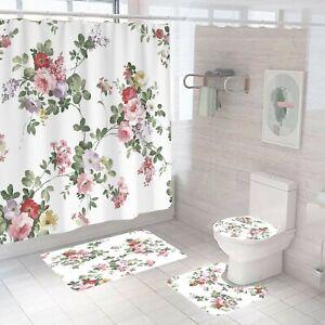 Floral-Bathroom-Rug-Set-Shower-Curtain-Thick-Non-Slip-Toilet-Lid-Cover-Bath-Mat