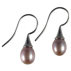 Freshwater-Cultured-Pearl-Natural-Drop-Earrings-925-Sterling-Silver-Hooks