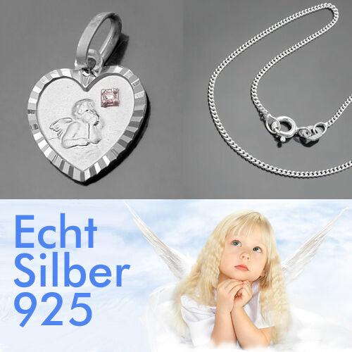 Kinder Taufe Schutz Engel Herz Anhänger mit Diamant Stern und Kette Silber 925
