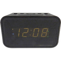 Advance Bluetooth Dual Alarm Clock Black With Usb Charging Port