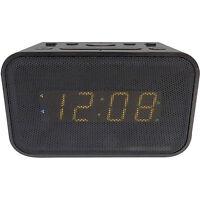 Advance Bluetooth Dual Alarm Clock Black Usb Charge Port