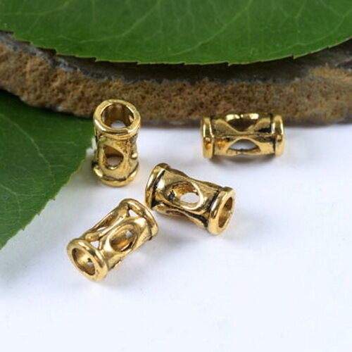 45pcs dark gold-tone tube with hole spacer beads h1852