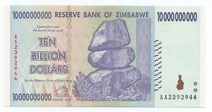 ZIMBABWE 10 BILLION 10,000,000,000 DOLLARS 2008 P 85 AUNC ABOUT UNC