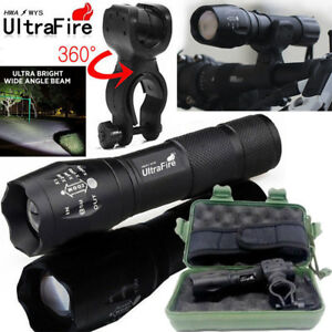 Ultrafire-Flashlight-60000LM-T6-LED-Light-Tactical-18650-amp-Torch-Holder-Bicycle