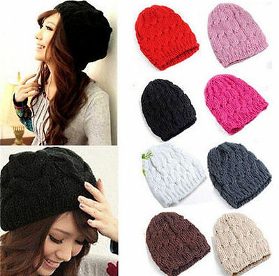 Women10 Colors Lady Knit Winter Warm Crochet Hats Braided Baggy Beret Beanie Cap