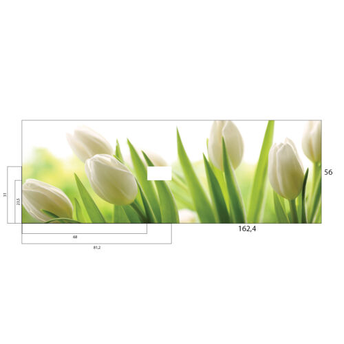 CUSTOM MADE PRODUCT-Kitchen Splashback 1624x560 Tempered Glass Tulips Floral