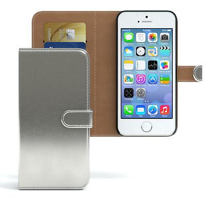 Tasche für Apple iPhone 5 / 5S Case Wallet Schutz Hülle Cover Silber