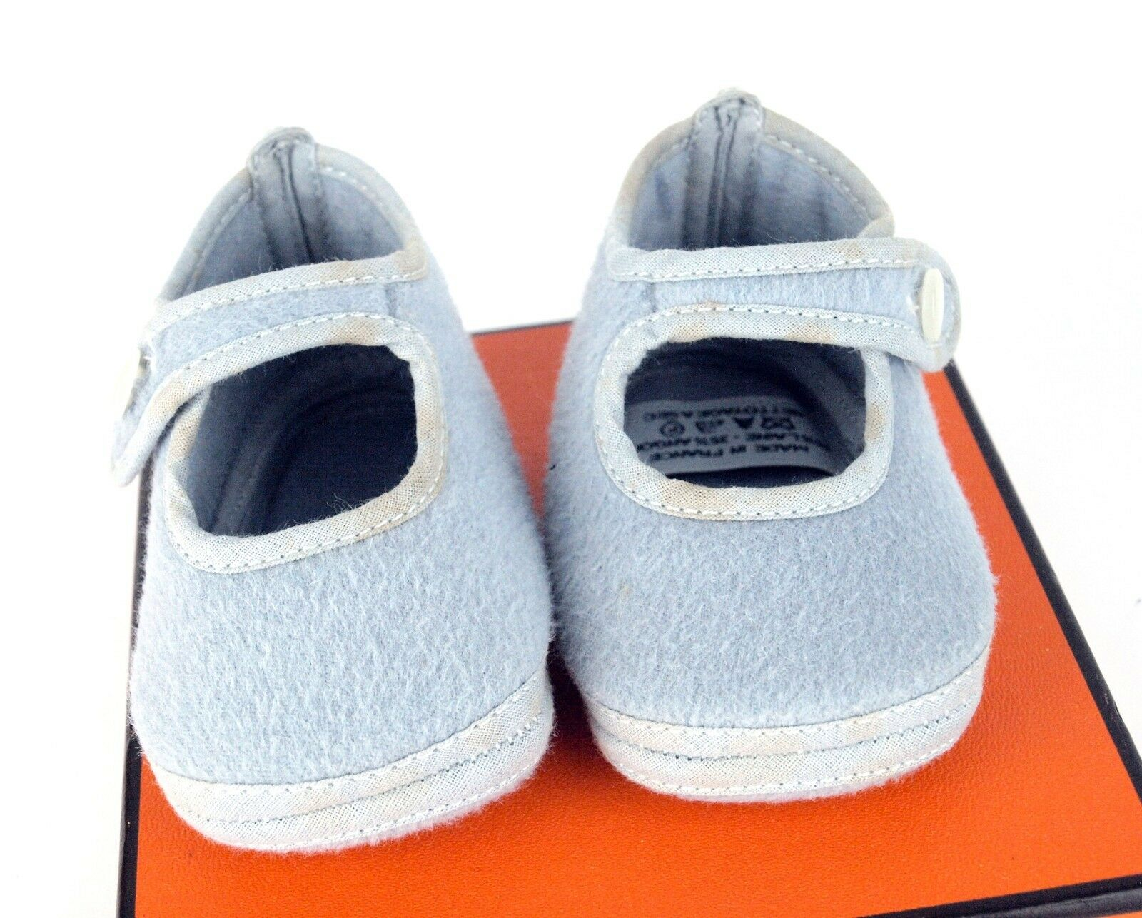 Authentic HERMES Newborn Baby Shoes / Booties Light Blue (Baby SZ & Toddler) SZ (Baby 2.5 f82942