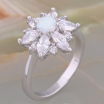 Ladies Blue Fire Opal 18ct White Gold GF Wedding Gift Gemstone Band Ring Sz Q-S