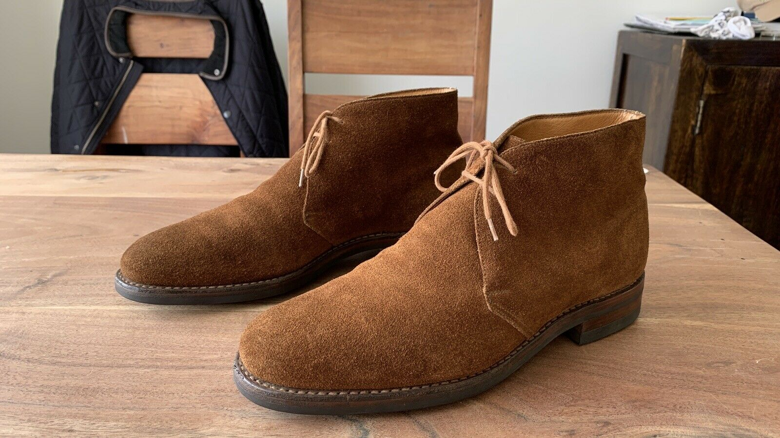 Crockett & Jones Chertsey Brown Suede Leather Chukka Boots UK8.5E Made In Eng