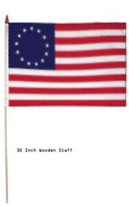 """2nd Amendment Betsy Ross 100D 12x18 12/""""x18/"""" Stick Flag 30/"""" Wood Staff"""