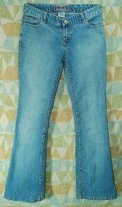 DISTRESSED-Worn-4-Leaf-Clover-Rivets-LOW-Rise-FLARE-Leg-BLUE-ASPHALT-Jeans-3