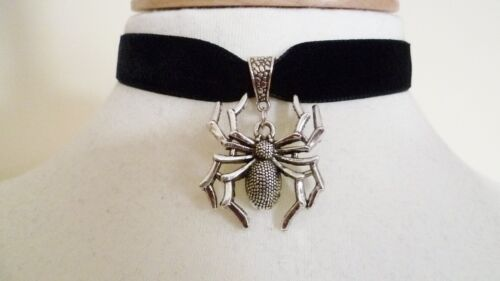 Black Velvet Spider Choker Gothic Choker Necklace Pagan Halloween Choker
