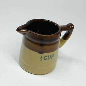 Vintage-Brown-Glaze-Stoneware-1-2-Cup-Measuring-Cup-Pitchers-Crock-Creamer-SHF