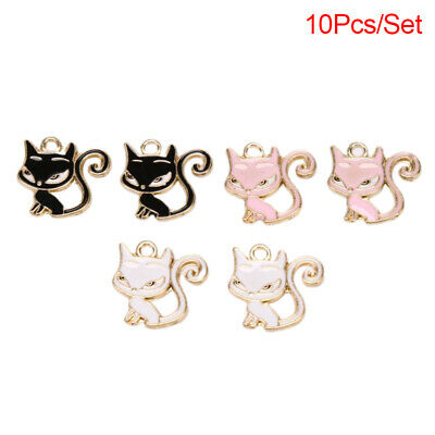 10PCS Enamel Alloy Cat Animal Charms Pendants DIY Jewelry Findings Crafts Gift